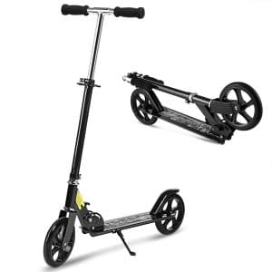 Hikole kick Scooter folded and standing position