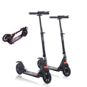 Monodeal Height Adjustable Scooter folded and standing
